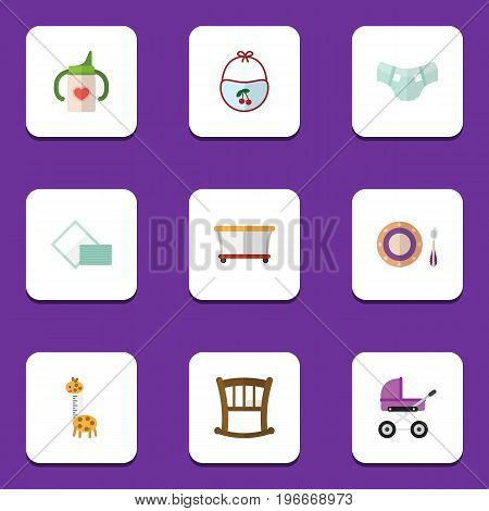 Flat Icon Kid Set Of Playground, Baby Plate, Toy And Other Vector Objects