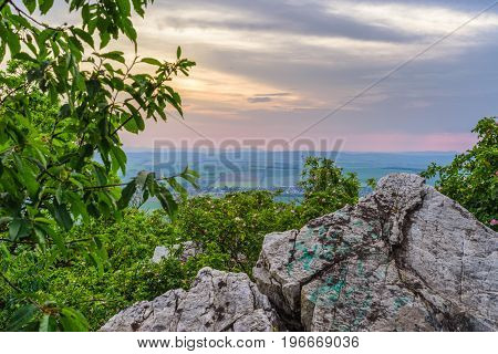 Beutiful colorful sunset on rock formation called Velka Skala in Oponice Slovakia