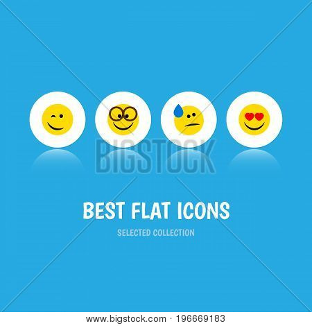Flat Icon Expression Set Of Love, Winking, Tears And Other Vector Objects