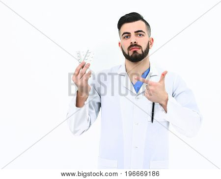 Man With Concentrated Face In White Coat. Treatment, Ambulance Services