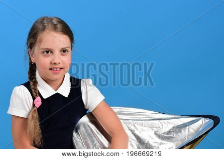 Girl In School Uniform With Cute Braids. Back To School