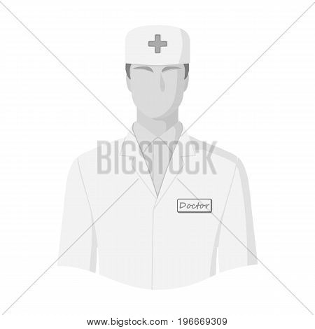 The man is a doctor in uniform. Medicine single icon in monochrome style vector symbol stock illustration .