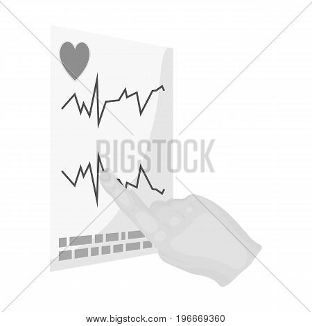 Studying the cardiogram of the heart. Medicine single icon in monochrome style vector symbol stock illustration .