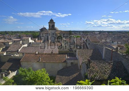 View of the Beaucaire city and the Collegiate Church of Notre-Dame-des-Pommiers Occitanie France