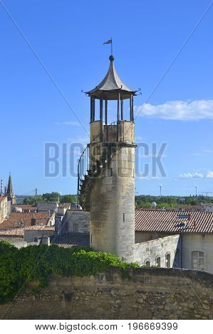 Tower on Chateau de Beaucaire Occitanie France