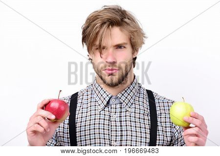 Idea Of Proper Nutrition. Farmer With Fresh Fruits On White