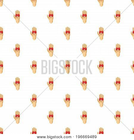 Hand of adult and kid with red heart pattern seamless repeat in cartoon style vector illustration