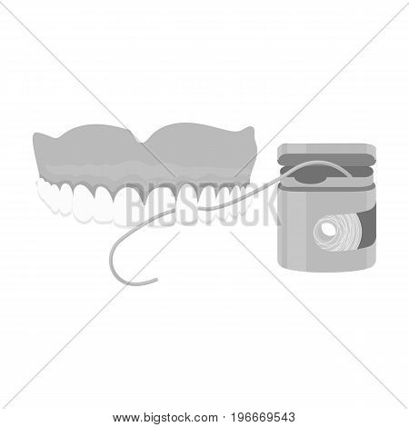 Cleaning the teeth with a Silk dental floss. Stomatology single icon in monochrome style vector symbol stock illustration .