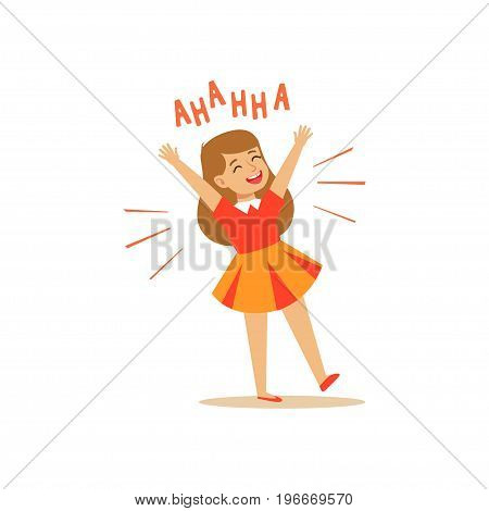 Happy girl in a dress laughing out loud colorful character vector Illustration on a white background
