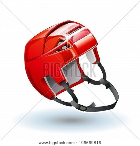 Classic red Ice Hockey Helmet. Realistic sports equipment isolated on white background. Vector illustration