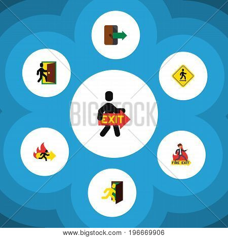 Flat Icon Emergency Set Of Evacuation, Fire Exit, Emergency And Other Vector Objects