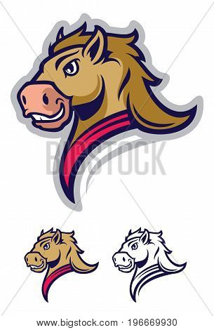 Mustang sport mascot. Cartoon character on white background