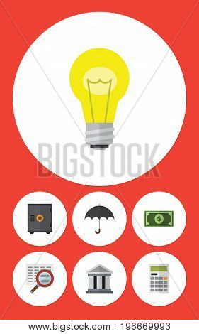 Flat Icon Gain Set Of Greenback, Strongbox, Scan And Other Vector Objects
