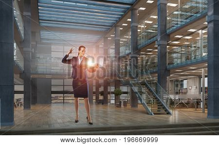 Woman with laptop in hands