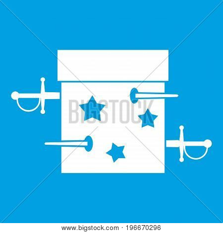 Sword box illusion icon white isolated on blue background vector illustration
