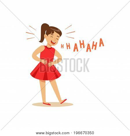 Girl in a red dress laughing out loud and holding her stomach colorful character vector Illustration on a white background