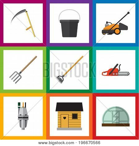 Flat Icon Farm Set Of Tool, Hay Fork, Hothouse And Other Vector Objects