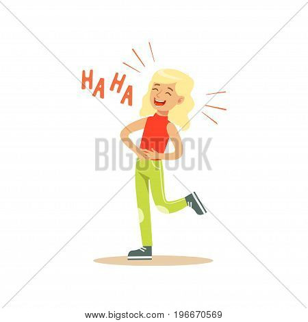 Blonde girl laughing out loud and holding her stomach colorful character vector Illustration on a white background