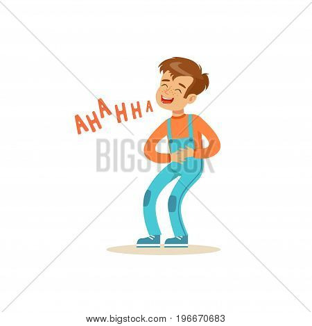 Happy boy laughing out loud and holding his stomach colorful character vector Illustration on a white background