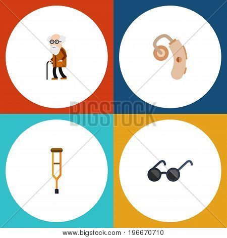 Flat Icon Handicapped Set Of Spectacles, Audiology, Stand Vector Objects