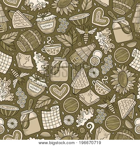 Cartoon cute hand drawn Honey seamless pattern. Monochrome detailed, with lots of objects background. Endless funny vector illustration. Toned backdrop