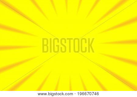 Converging abstract orange sun rays radial yellow background