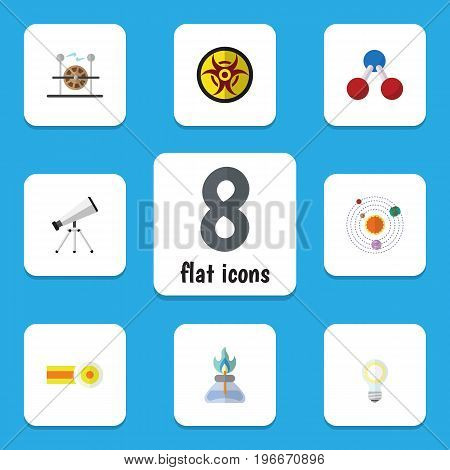Flat Icon Study Set Of Nuclear, Lightbulb, Chemical And Other Vector Objects
