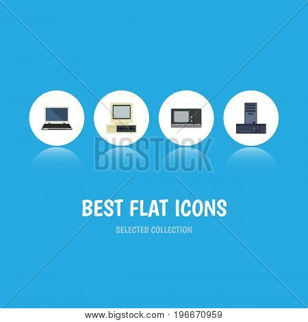Flat Icon Computer Set Of Processor, Computer, Notebook And Other Vector Objects