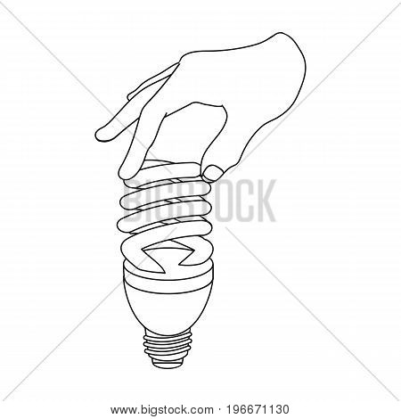 Fluorescent, saving light bulb in hand. Electric lamp single icon in outline style vector symbol stock illustration .