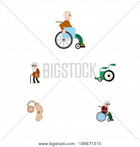 Flat Icon Cripple Set Of Handicapped Man, Audiology, Wheelchair Vector Objects
