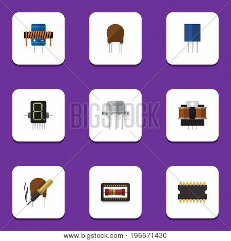 Flat Icon Electronics Set Of Coil Copper, Bobbin, Display And Other Vector Objects
