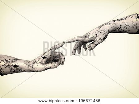 Sculpture of two hands on a white background. 3d illustration.