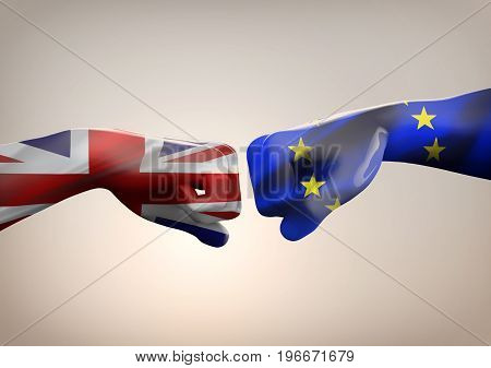 Brexit Symbol of the Referendum UK vs EU. Two fists on a gray background. 3d illustration.