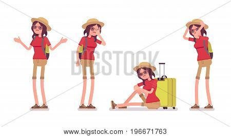 Tourist woman negative emotions set. Lady sad with delayed flight, forgetting passport, trip problems or mishaps, language barrier. Vector flat style cartoon illustration, isolated, white background