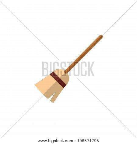 Broom Vector Element Can Be Used For Witch, Broom, Broomstick Design Concept.  Isolated Witch Broomstick Flat Icon.