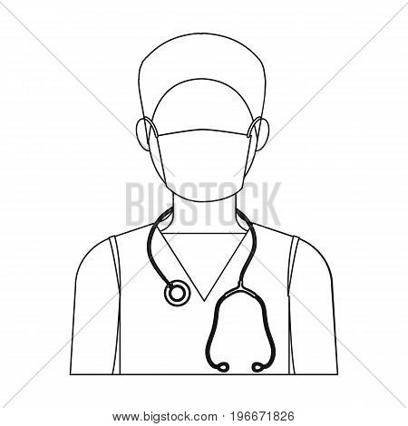 The doctor is wearing a face mask with a phonendoscope. Medicine single icon in outline style vector symbol stock illustration .