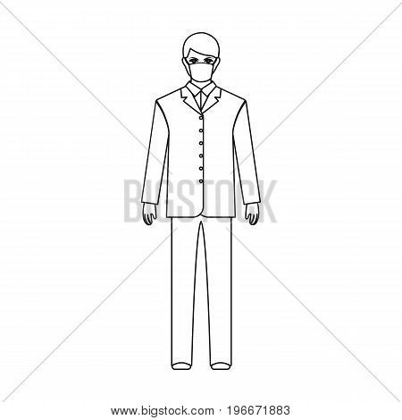 The man is a doctor in uniform and a protective mask. The medicine single icon in outline style vector symbol stock illustration .