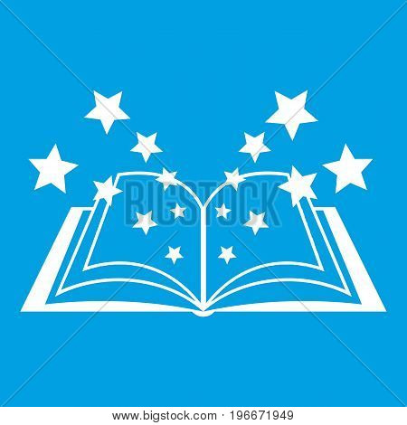 Magic book icon white isolated on blue background vector illustration