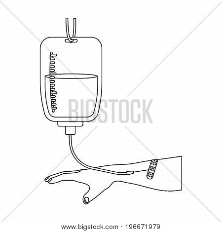 Procedure of blood transfusion. Medicine single icon in outline style vector symbol stock illustration .