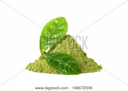 Green matcha tea powder with two green wet leaves with waterdrops isolated on white background poster