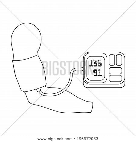 Measurement of blood pressure with a tonometer. Medicine single icon in outline style vector symbol stock illustration .