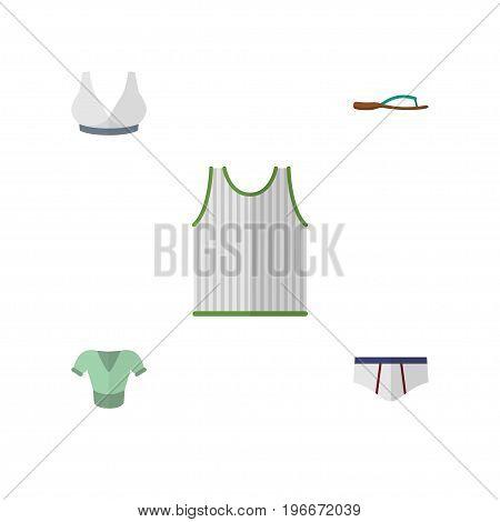 Flat Icon Garment Set Of Singlet, Beach Sandal, Brasserie Vector Objects