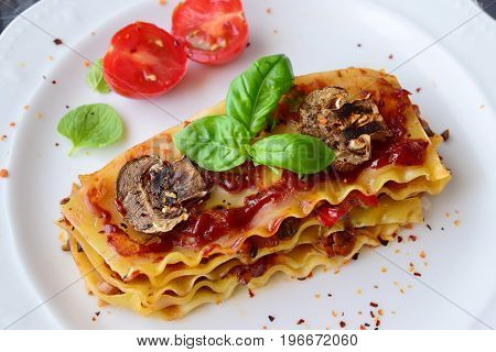 Vegetarian lasagna with mushrooms, onions, olives and tomato sauce on a white plate. Healthy eating concept. Mediterranian lifestyle