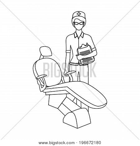 The doctor is a dentist in the dentist's office. Medicine single icon in outline style vector symbol stock illustration .