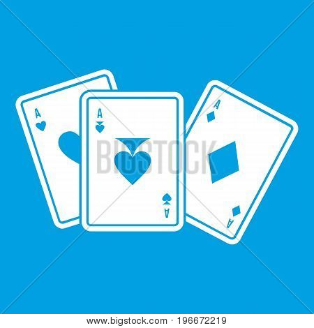 Playing cards icon white isolated on blue background vector illustration