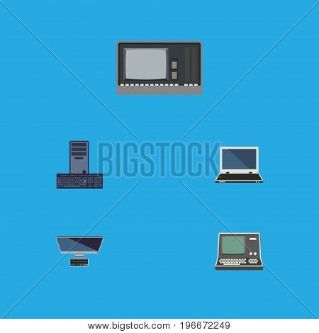 Flat Icon Laptop Set Of Processor, Vintage Hardware, PC And Other Vector Objects