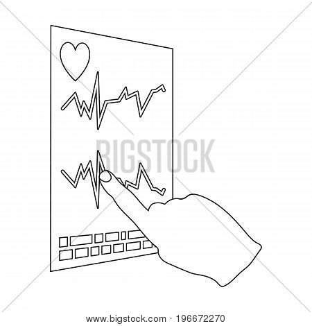 Studying the cardiogram of the heart. Medicine single icon in outline style vector symbol stock illustration .