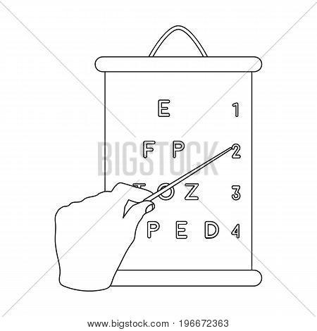 Gesture, manipulation of the hand with a pointer when checking the vision according to the table. Medicine single icon in outline style vector symbol stock illustration .