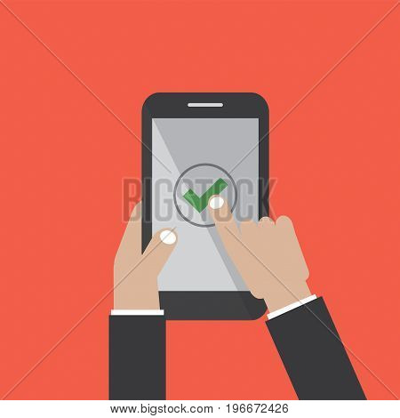 Check Mark On Smartphone Screen Vector Illustration. EPS 10
