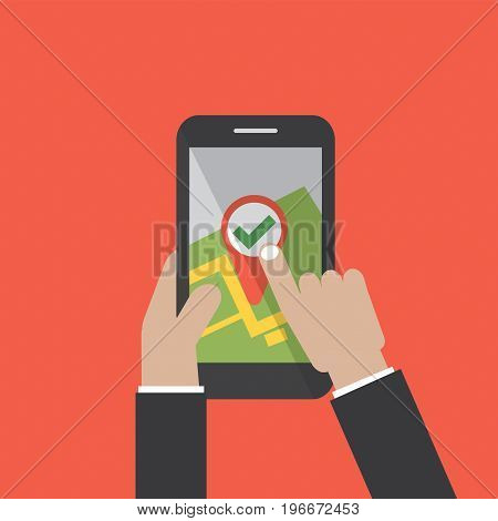 Hand Hold Smartphone With City Map GPS Navigator On Smartphone Screen Vector Illustration. EPS 10